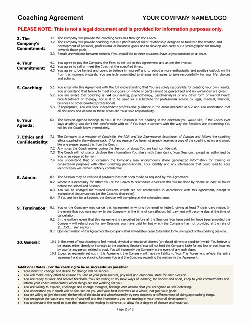 Technical assistance Agreement Sample Awesome Coaching Agreement Contract Template Sample