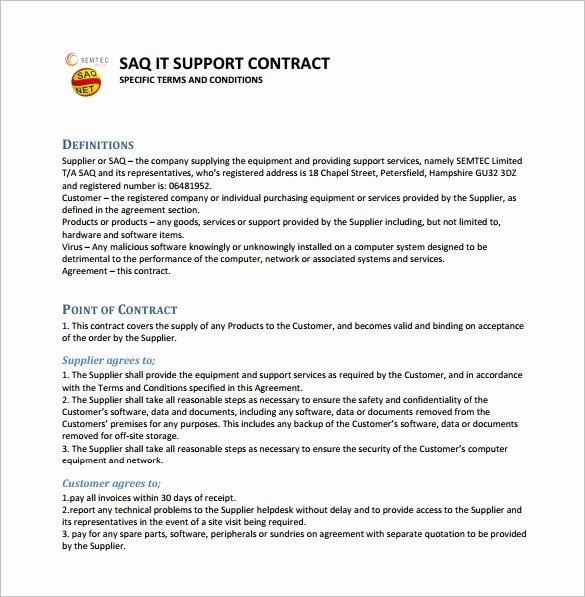 Technical assistance Agreement Sample Elegant 10 It Support Contract Templates Word Docs
