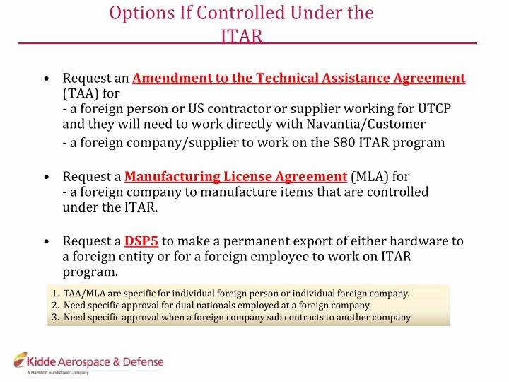 Technical assistance Agreement Sample Unique Itar Technical assistance Agreement Template