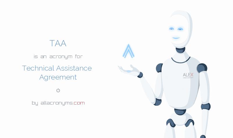 Technical assistance Agreement Sample Unique Taa Abbreviation Stands for Technical assistance Agreement