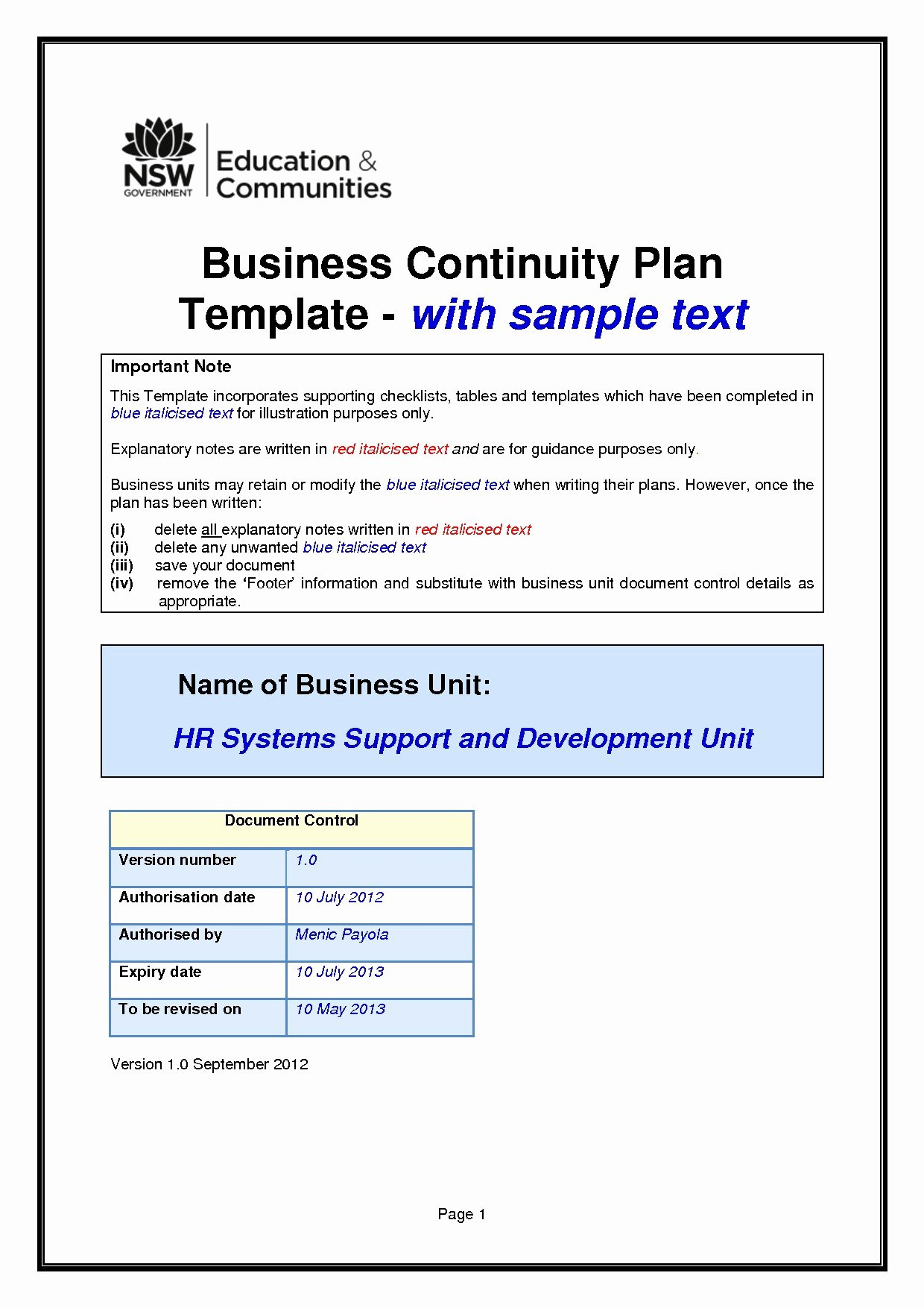 Technology Business Plan Template New 20 Business Continuity Plan Template Australia Valid