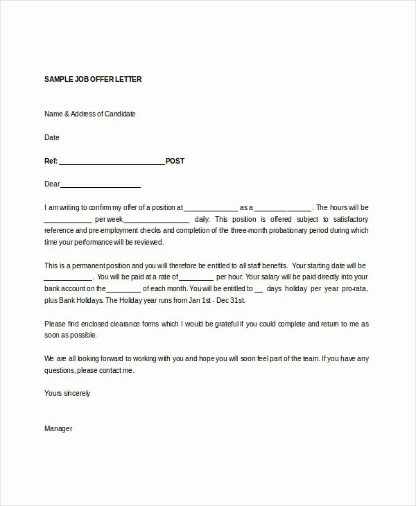 Temp to Perm Offer Letter Awesome Fer Letter Templates In Doc 46 Free Word Pdf