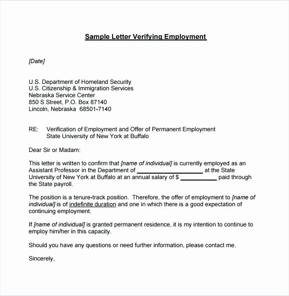 Temp to Perm Offer Letter Lovely Employment Proof Letter Image Employment Verification