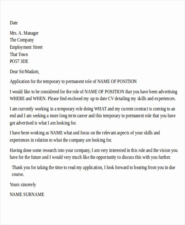 Temp to Perm Offer Letter New 28 Job Letter formats