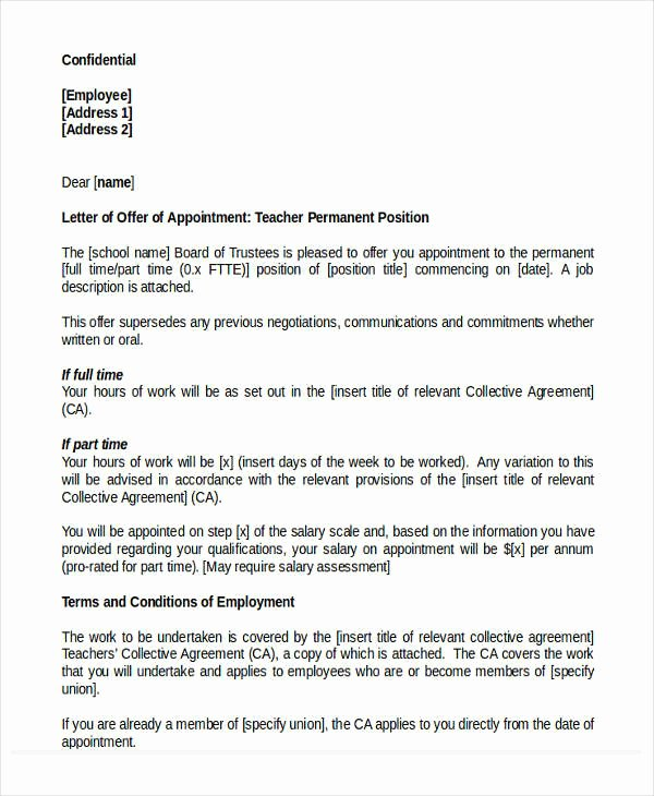 Temp to Perm Offer Letter New 47 Appointment Letter Template In Doc