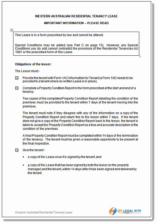 Tenant Buyout Agreement Best Of Residential Tenancy Agreement Western Australia Wa Rental