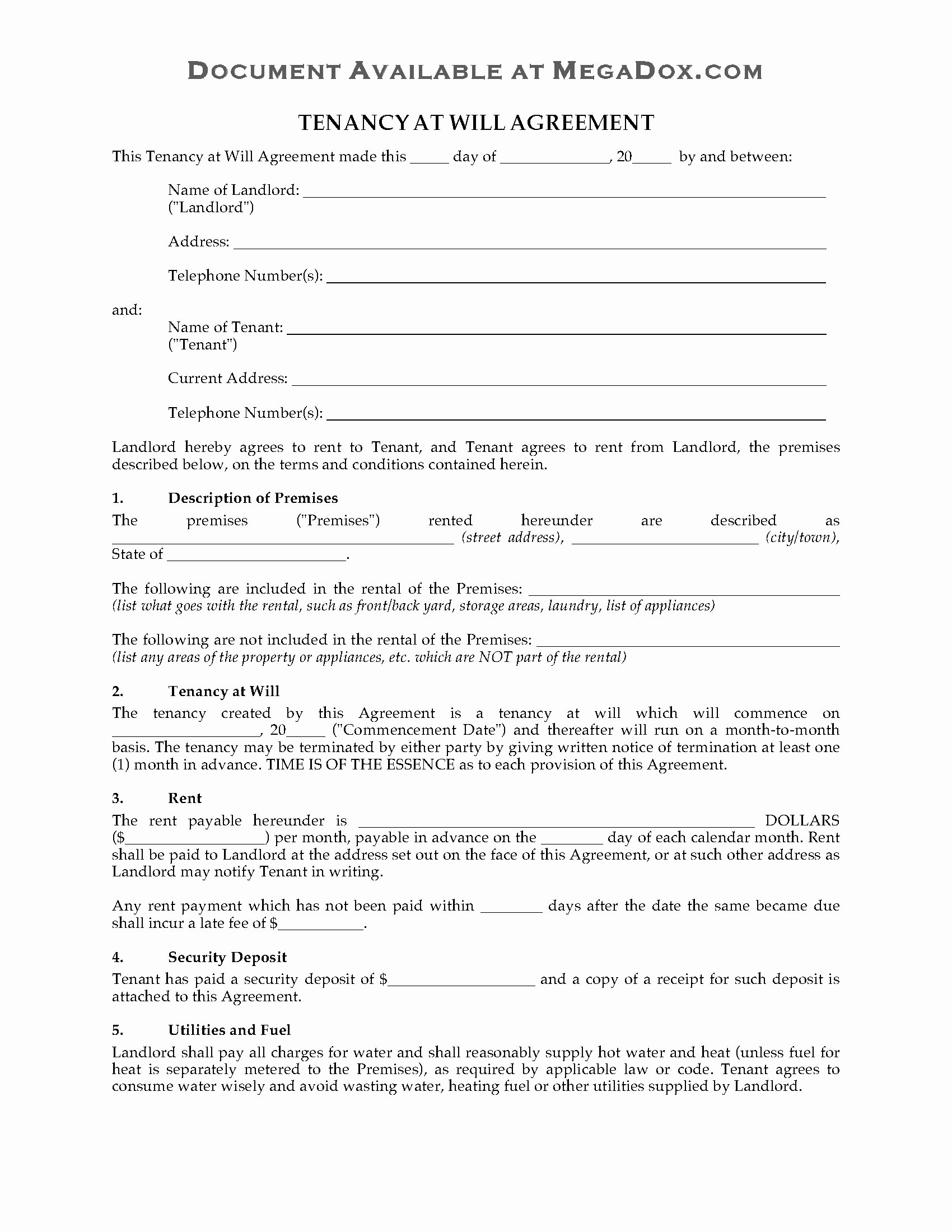 Tenant Buyout Agreement Elegant Usa Residential Tenancy at Will Agreement