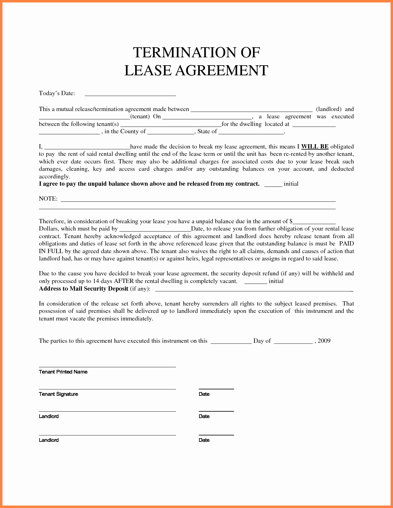 6 termination of tenancy agreement template
