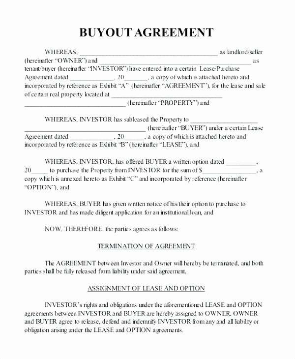 Tenant Buyout Agreement Example Elegant Tenant Buyout Agreement Example Fresh Real Estate Fer