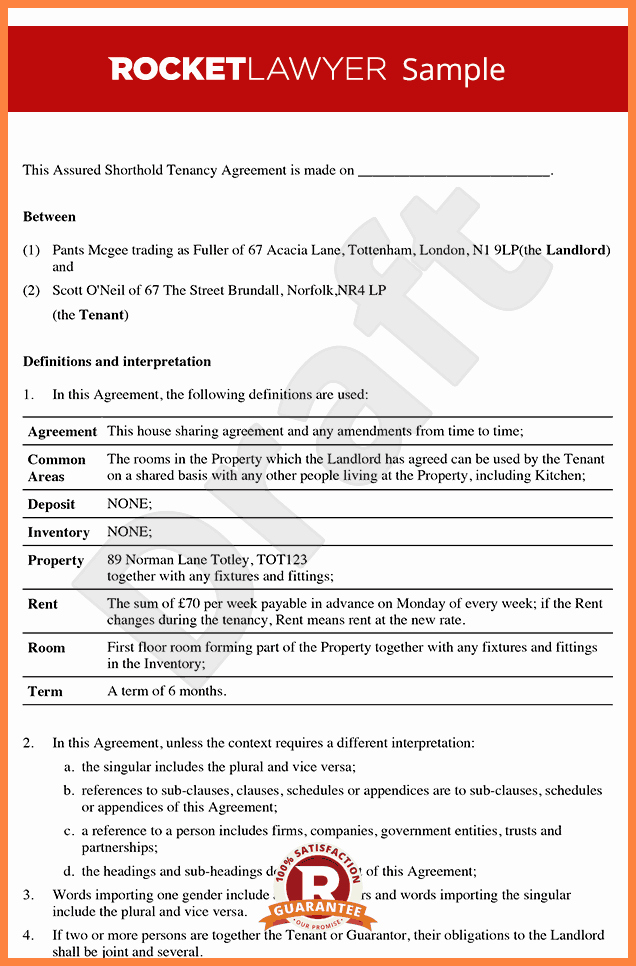 Tenant Buyout Agreement New 6 Private Landlord Tenancy Agreement Template