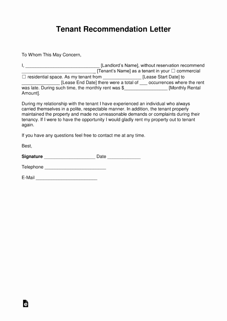 Tenant Letter Of Recommendation Awesome Free Landlord Re Mendation Letter for A Tenant with
