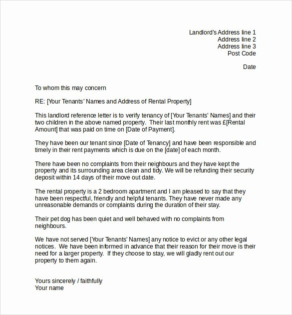 Tenant Letter Of Recommendation Elegant Landlord Reference Letter Template 10 Samples
