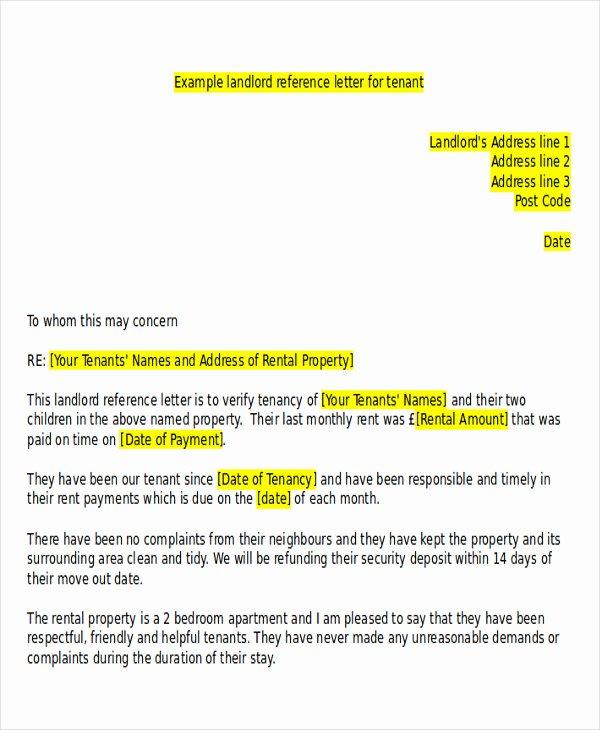 Tenant Letter Of Recommendation Lovely 5 Sample Tenant Re Mendation Letter Free Sample