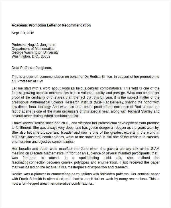 Tenure Recommendation Letter From Student Lovely Sample Re Mendation Letter for Promotion Teachers