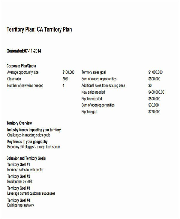 Territory Management Plan Template Inspirational 27 Sales Plan Examples