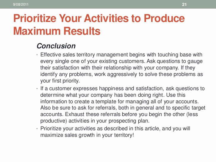 Territory Management Plan Template Luxury 10 Sales Training Territory Management