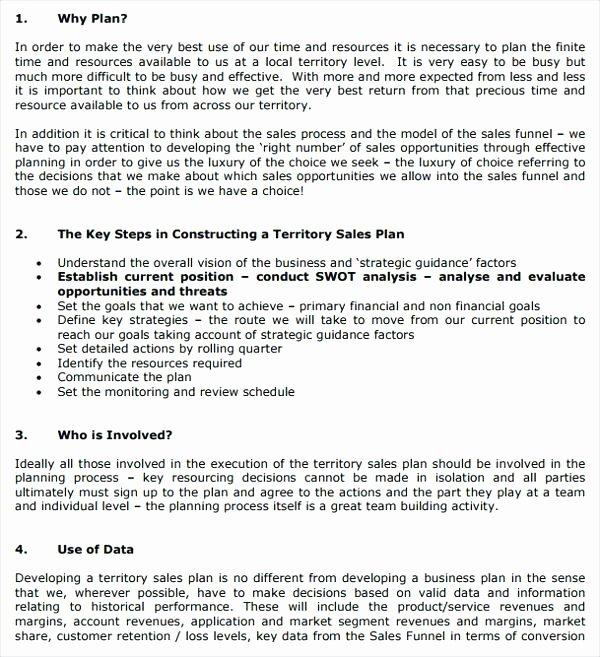 Territory Sales Plan Template Fresh Territory Example Sales Plan Example Sample Business for