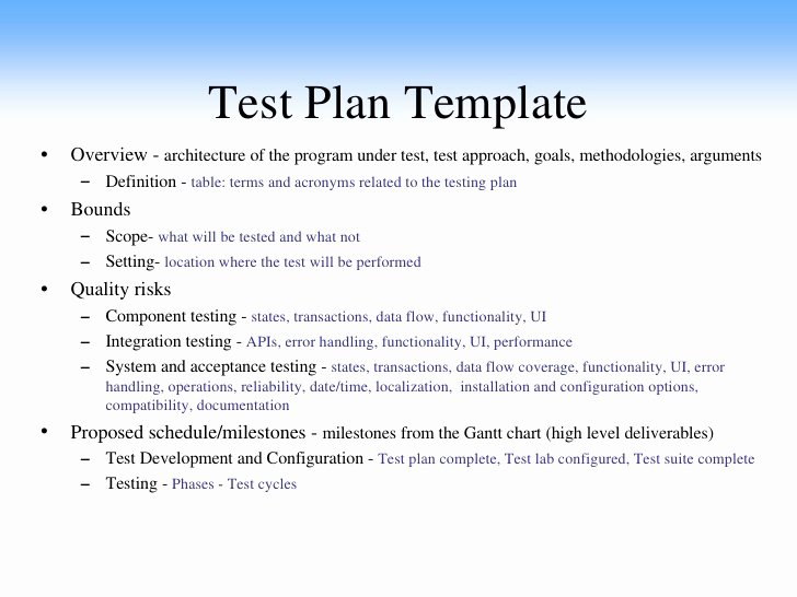 Test Plan Document Template Awesome Test Plan Example