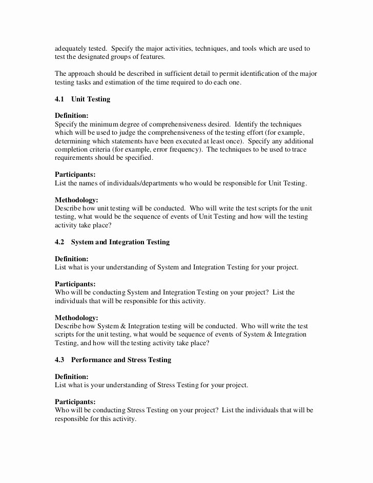 Test Plan Document Template Beautiful Sample Test Plan Template Pdf