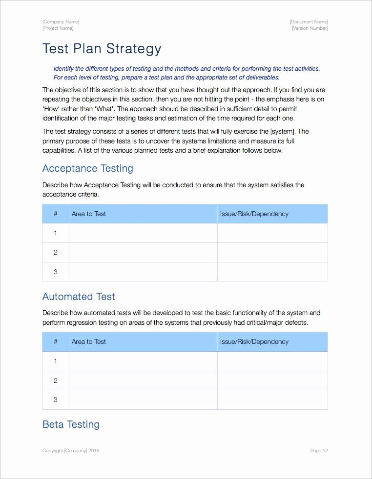 Test Plan Template Word Beautiful Test Plan Template Ms Word Excel
