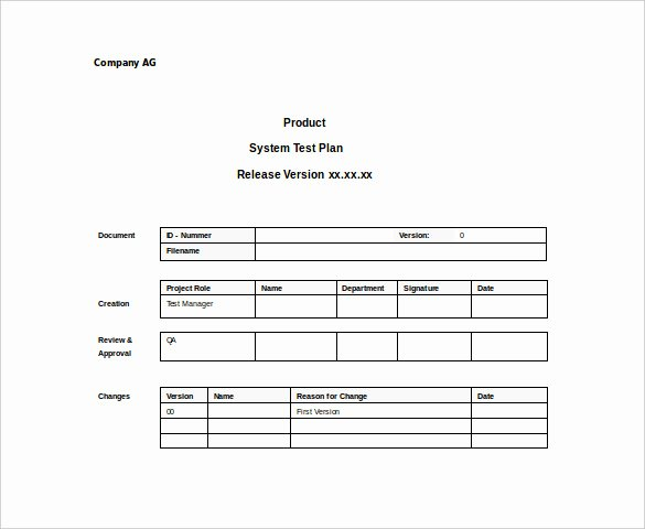 Test Plan Template Word Fresh 15 Test Plan Templates Pdf Doc