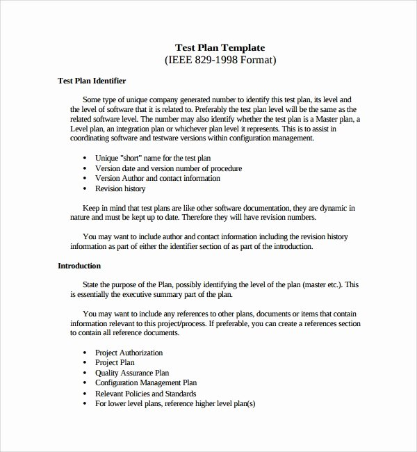 Test Plan Template Word Inspirational 9 Testing Plan Templates