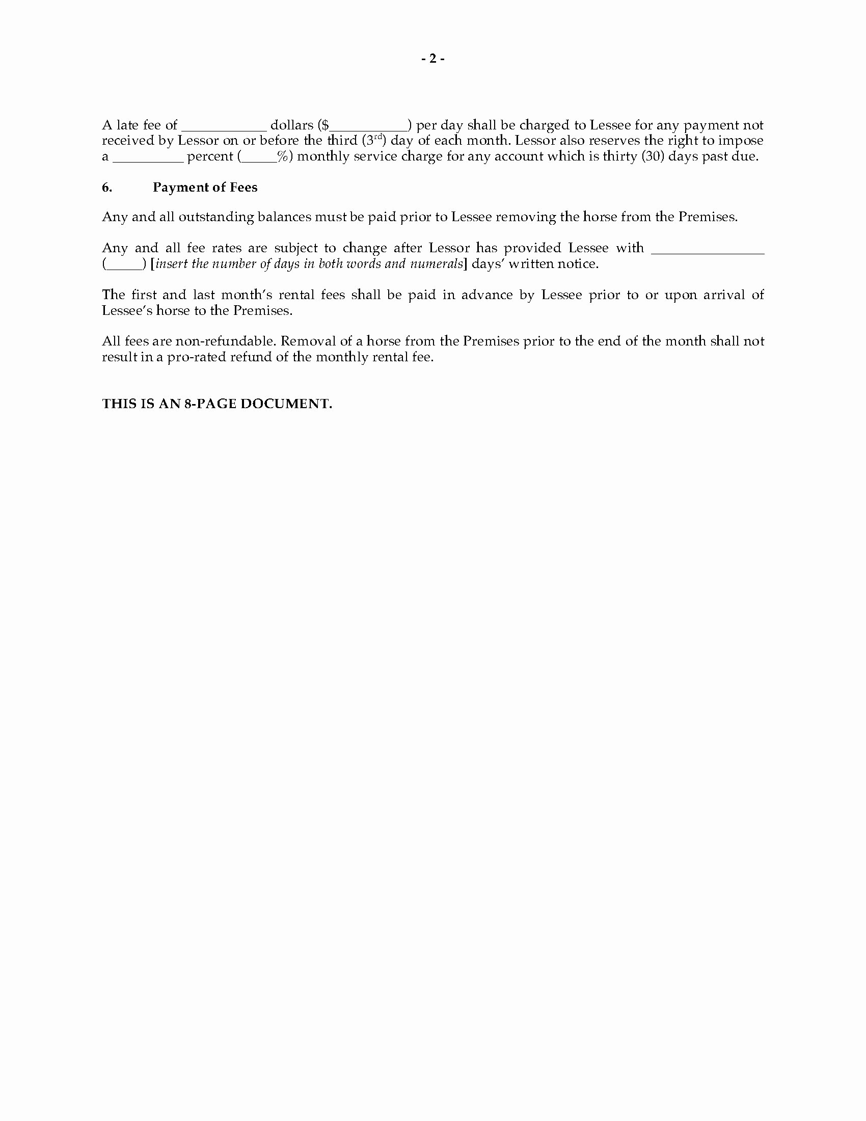 Texas Grazing Lease Agreement Template Elegant Texas Horse Boarding and Stall Lease Agreement