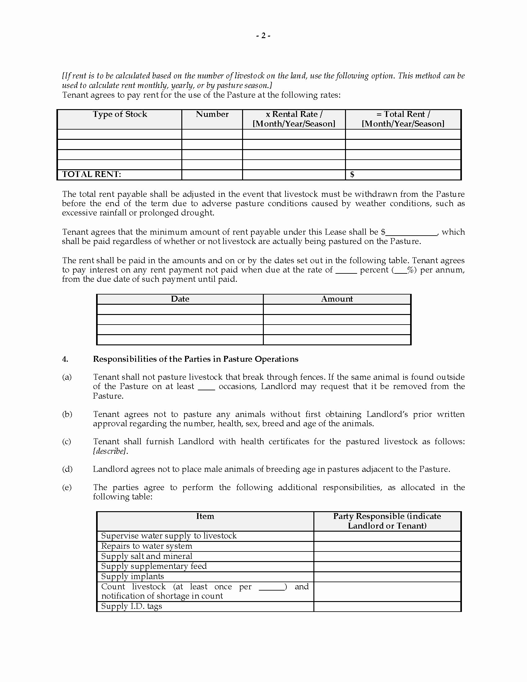 Texas Grazing Lease Agreement Template Fresh Tario Pasture Lease