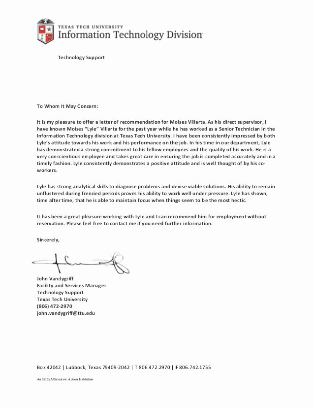 Texas Tech Letter Of Recommendation Beautiful Letter Of Re Mendation Ttu