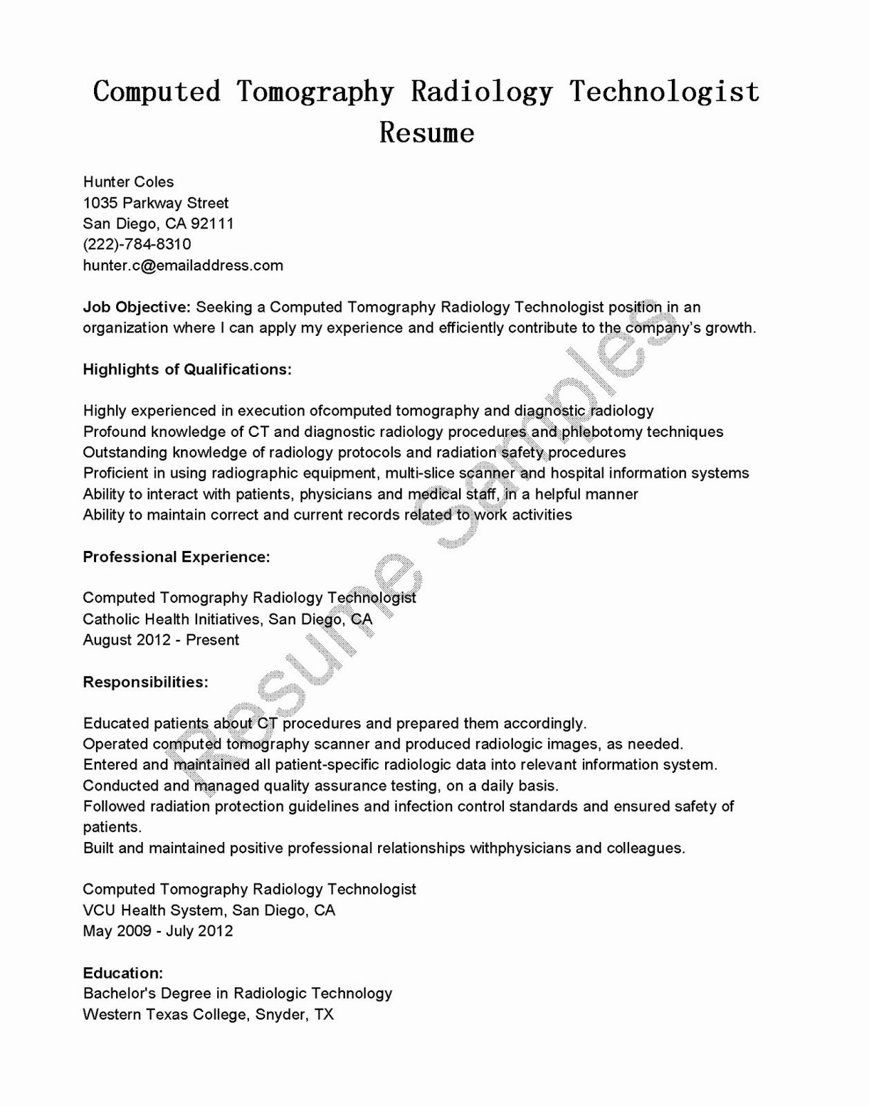 Texas Tech Letter Of Recommendation Elegant Resume Samples Puted tomography Radiology Technologist