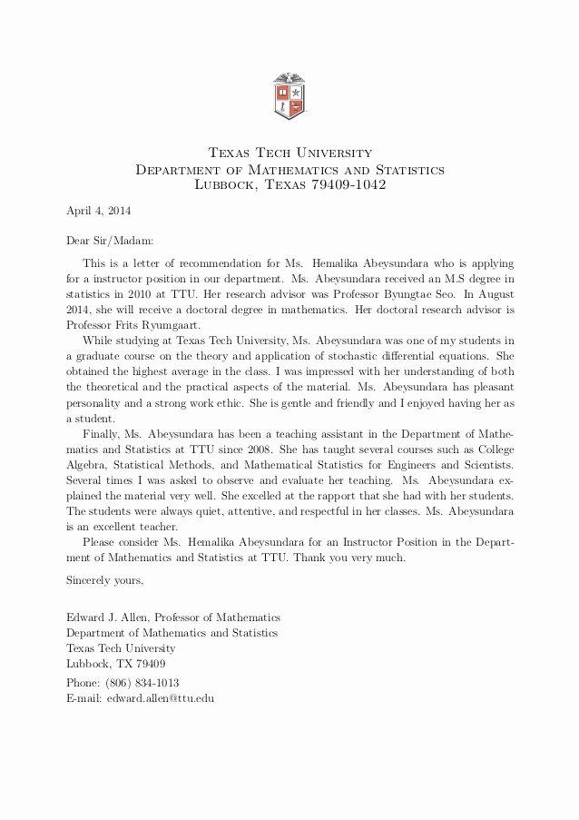 Texas Tech Letter Of Recommendation Elegant Teaching Portfolio Hemalika Abeysundara