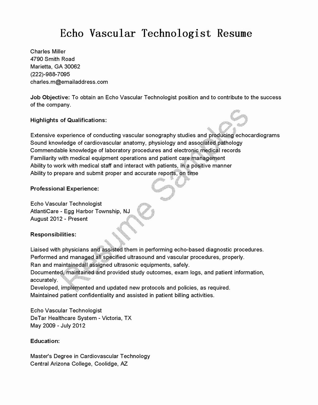 Texas Tech Letter Of Recommendation Inspirational Resume Samples Echo Vascular Technologist Resume Sample