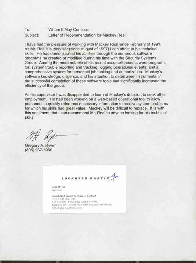 Texas Tech Letter Of Recommendation Luxury Gregory Ryver Supervisor Lockheed Martin