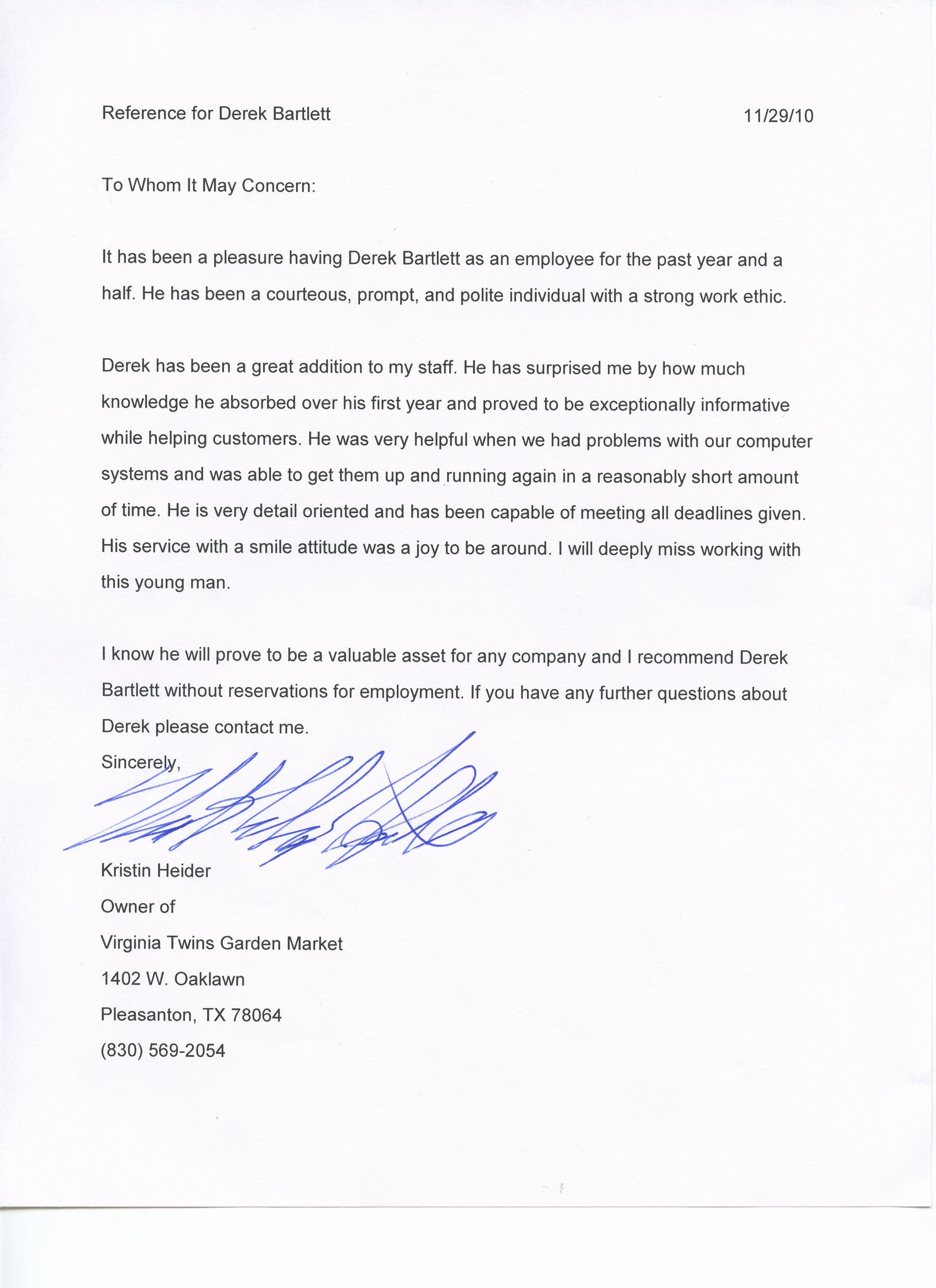 Texas Tech Letter Of Recommendation New Derek Bartlett Portfolio