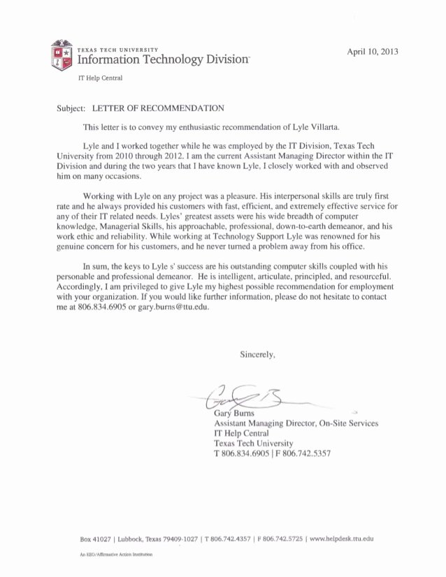 Texas Tech Letter Of Recommendation Unique Letter Of Re Mendation Ttu