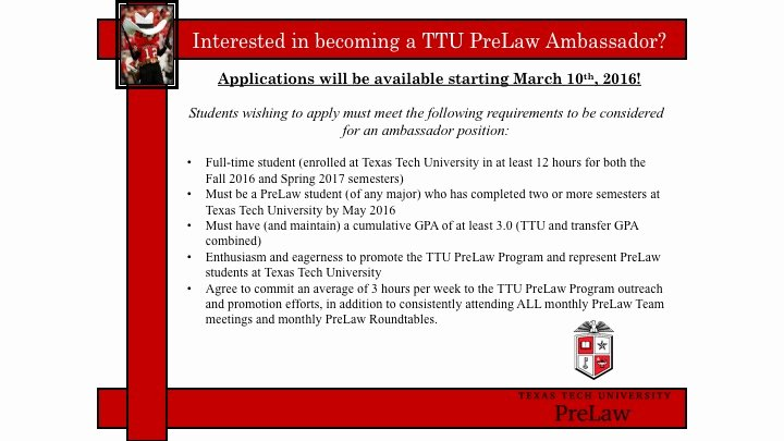 Texas Tech Letter Of Recommendation Unique Ttu Prelaw Program Texas Tech University Advising