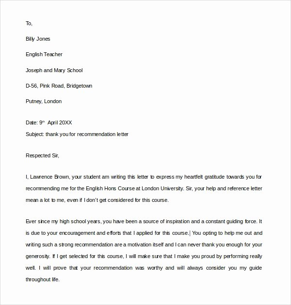 Thank You Letter for Recommendation Inspirational Sample Thank You Letter for Re Mendation 9 Download