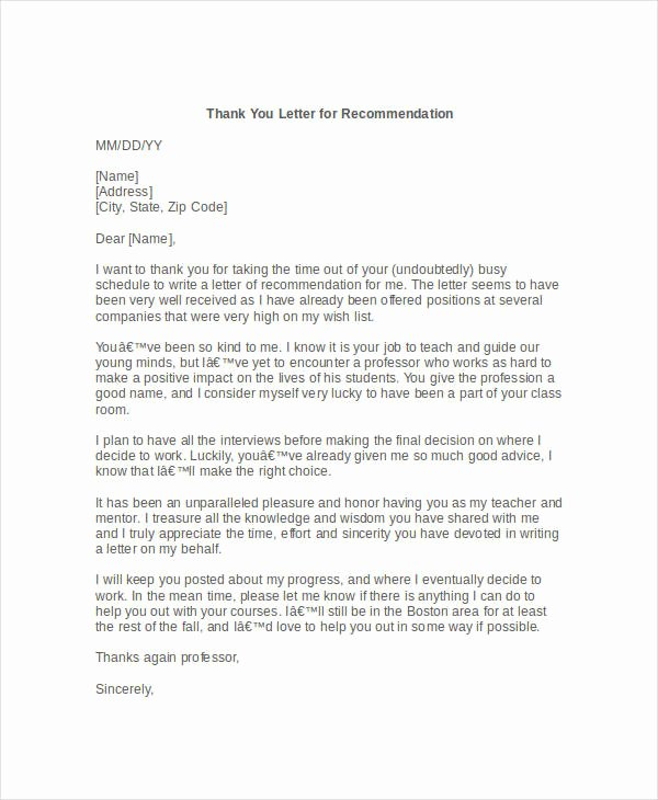 Thank You Letter Recommendation Best Of 58 Sample Business Letters Doc Pdf