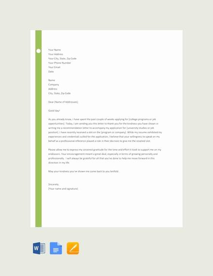 Thank You Letter Recommendation Inspirational 28 Letter Of Re Mendation In Word Samples