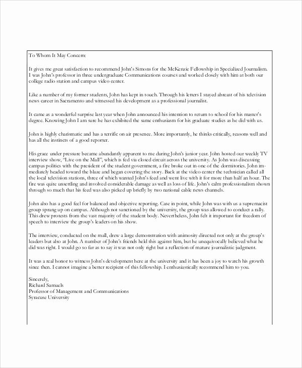 Thanking Professor for Recommendation Letter Beautiful 11 Professor Re Mendation Letter Samples