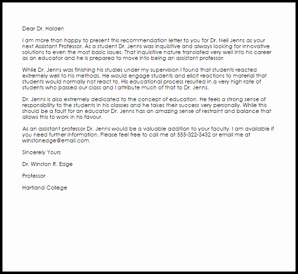 Thanking Professor for Recommendation Letter Beautiful assistant Professor Re Mendation Letter Example