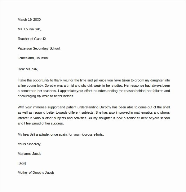Thanking Professor for Recommendation Letter Best Of 10 Thank You Letters to Professor – Pdf Word