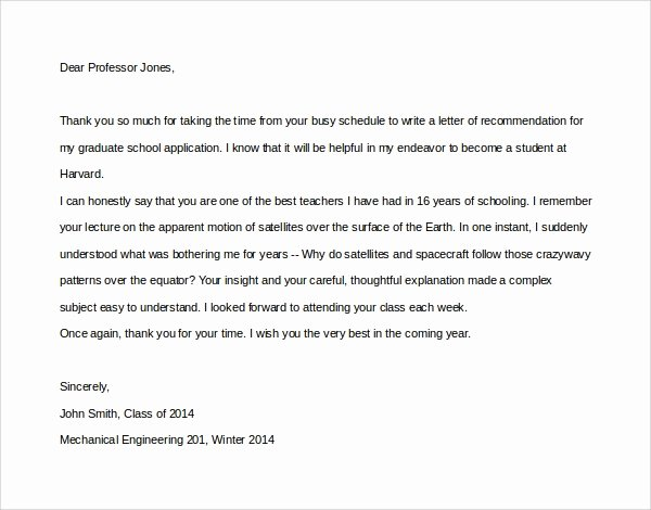Thanking Professor for Recommendation Letter Inspirational 10 Thank You Letters to Professor – Pdf Word