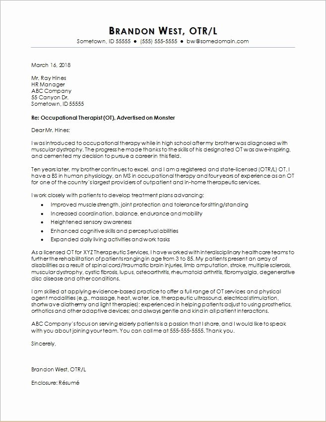 Therapist Marketing Letter Template Awesome Occupational therapy Cover Letter Sample