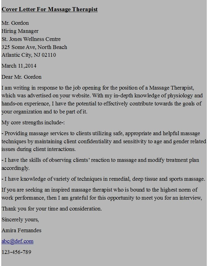 Therapist Marketing Letter Template Beautiful Cover Letter for Massage therapist