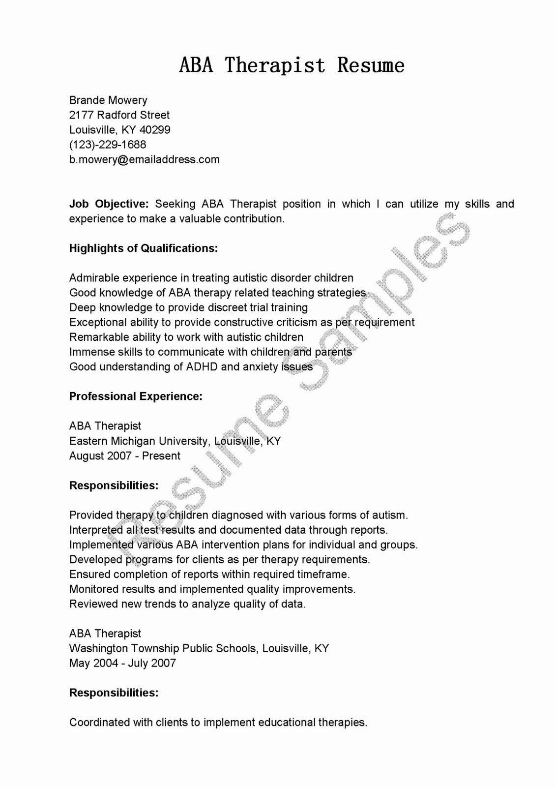 Therapist Marketing Letter Template Fresh Resume Samples Aba therapist Resume Sample
