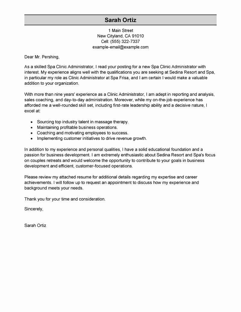 Therapist Marketing Letter Template Unique Leading Professional Clinic Administrator Cover Letter