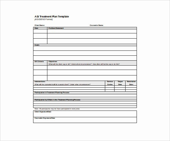 Therapist Treatment Plan Template Inspirational Treatment Plan format – Free Download