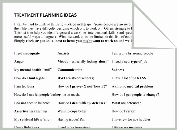 Therapist Treatment Plan Template Unique Mental Health Treatment Planning Ideas Worksheet Google