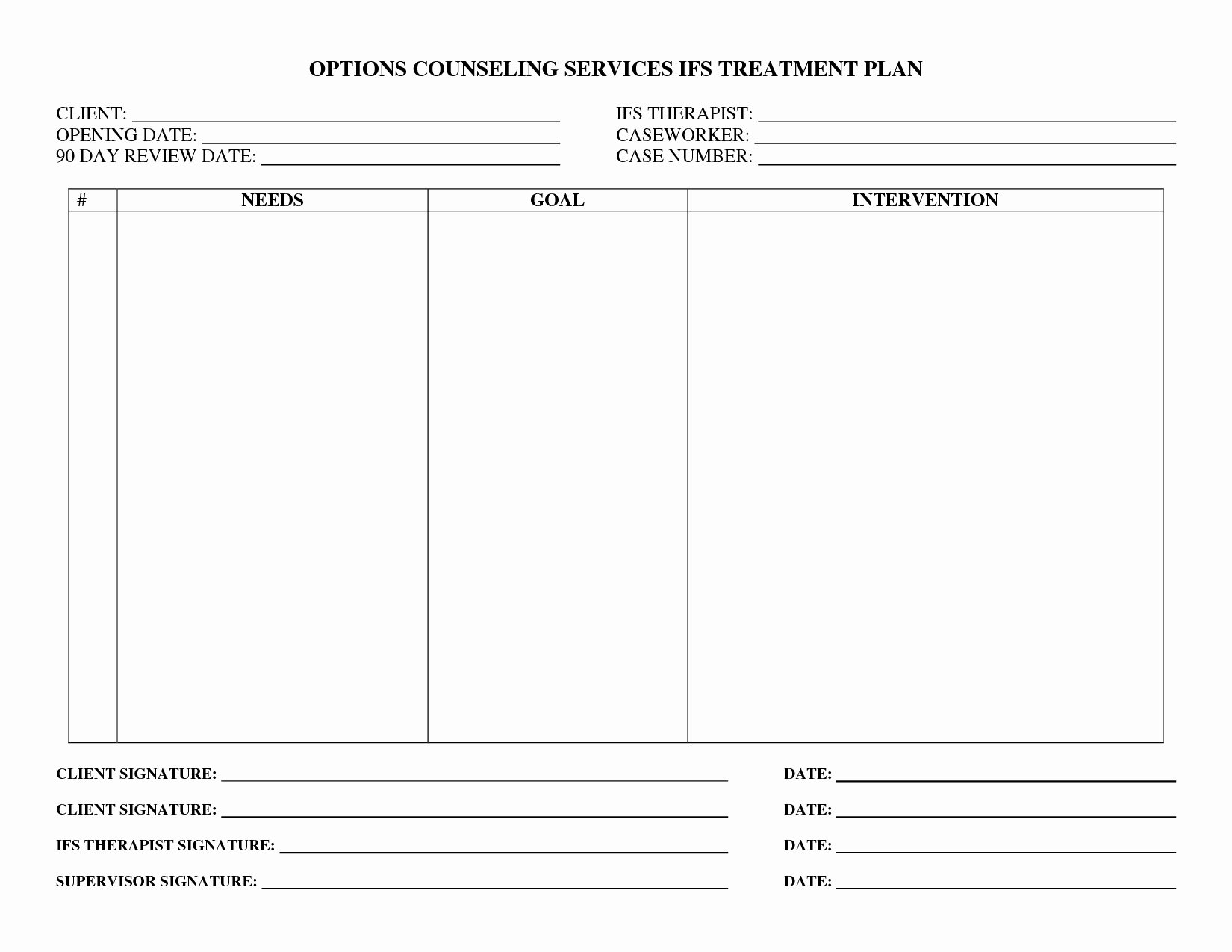 Therapy Treatment Plan Template Lovely Treatment Plan forms Mental Health Printable Google
